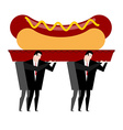 Funeral hot dog Fast food is carried in coffin vector image