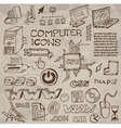hand- drawn computer icons vector image vector image
