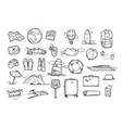 hand drawn travel doodle elements isolated on vector image