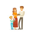 Happy christian family mother father and little