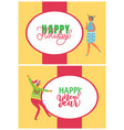 happy new year party dancing women cards vector image vector image