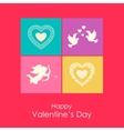 Happy Valentines day card with angel doves and vector image