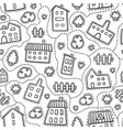 house doodle seamless pattern vector image vector image