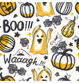 ink hand drawn seamless pattern with halloween vector image vector image