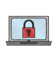 Isolated laptop with padlock design vector image vector image