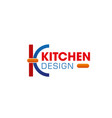 kitchen design k letter icon vector image