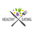 logo fork knife and vegetables vector image vector image