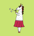 lovely hand-drawn unicorn-girl with soap bubbles vector image vector image