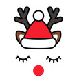 minimalistic cute christmas reindeer with santa vector image vector image