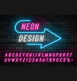 Neon light alphabet realistic extra glowing font