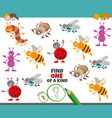 one a kind game for children with insects vector image vector image