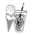 orange juice cup and ice cream cone cartoon in vector image vector image