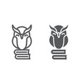 owl on books line and glyph icon e learning vector image