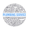 plumbing service banner line vector image vector image