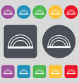 rainbow icon sign A set of 12 colored buttons Flat vector image vector image