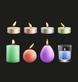 realistic candles colorful wax festive burning vector image