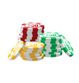 red green yellow poker chips - modern vector image vector image