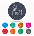 Retro photo camera icon Photographer equipment vector image vector image