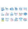seafood cafe promo signs colorful set of vector image