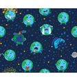 Seamless pattern of cute cartoon globes with vector image vector image