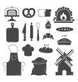 set bread products bakery symbols coffee shop vector image