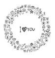 set doodle love hand drawn sketch line border vector image vector image