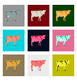 set of in flat style cow vector image