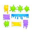 set slime splashes liquid goo yellow vector image
