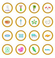 singapore travel icons circle vector image vector image