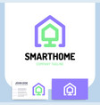 smart or technology home logo in line style vector image vector image