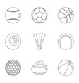 sport equipment icons set outline style vector image vector image