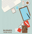 top view of business workspace vector image