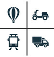 transport icons set collection of van skooter vector image vector image
