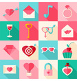 Valentine day flat icons with long shadow vector image vector image