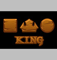 wooden logo king and old geometric icons vector image vector image