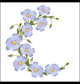 wreath of flax flowers round ornament vector image vector image