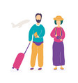 young couple waiting for flight in airport vector image vector image