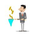 businessman catching money in the net vector image