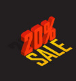 20 percent off sale red isometric object 3d vector image vector image