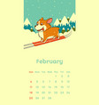 2018 february calendar with welsh corgi dog vector image vector image