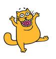 angry cartoon orange cat vector image