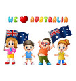 australia day national flag children kids love cou vector image vector image