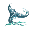 Background with the tail of a whale vector image vector image