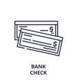 bank check line icon concept bank check vector image vector image