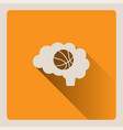 brain thinking in basketball on yellow background vector image vector image