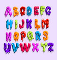 bright-colored latin alphabet made sweet jelly vector image