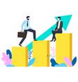 businessman walking up growing infochart vector image vector image