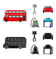 car on lift piston and pump cartoonblack icons vector image