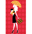 Chick silhouette mom with umbrella and kid vector | Price: 1 Credit (USD $1)