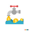 coin faucet flat icon vector image vector image